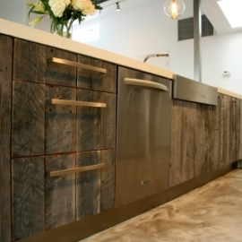 reclaimed wood used in kitchen cabinets